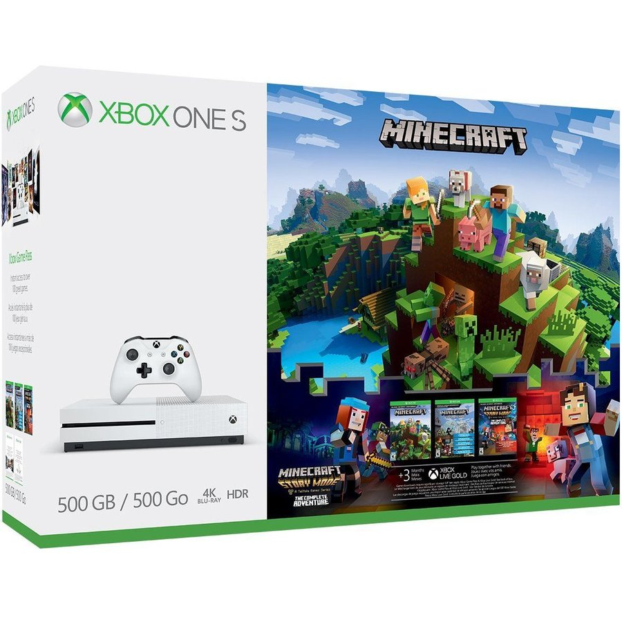 Consola Microsoft Xbox One S 500GB + Minecraft CompleteAdventure + 3 Month Xbox Game Pass + 3 Month