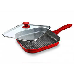 Tigaie Grill + Capac Cooking By Heinner, Home Chef, 28x4cm, Aluminiu