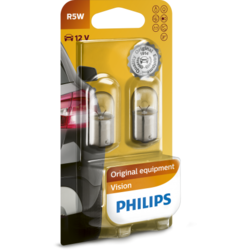 Philips Set 2 Becuri auto auxiliare cu halogen R5W Vision, 12V, 5W