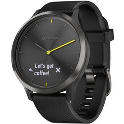Ceas smartwatch Garmin Vivomove HR Sport, Black Silicon Band, Black