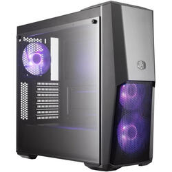 COOLER MASTER Carcasa MasterBox MB500, without PSU, Black, Steel, Plastic, Tempered Glass