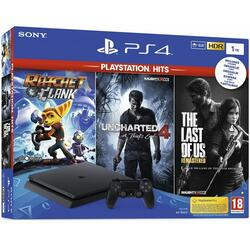 Sony Consola PlayStation 4 1TB Slim + Uncharted 4 + The Last of Us Remastered + Ratchet & Clank