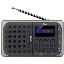 Radio portabil Akai APR-210, receiver FM, display rosu, negru