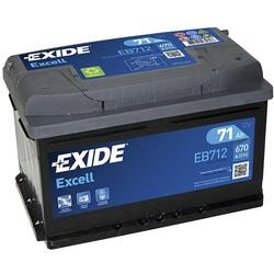 EXIDE Baterie auto Excell 71Ah, 670A