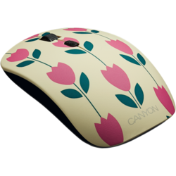 CANYON Wireless opticalmouse 4 buttons, DPI 800/1200/1600, 1 additional cover(Tulips), black