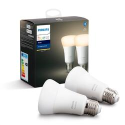 Philips Set 2 becuri inteligente LED Hue, functionalitate Bluetooth, Ambianta alba, E27, 9W(60W), temperatura de culoare 2700K, flux luminos 806 lumeni