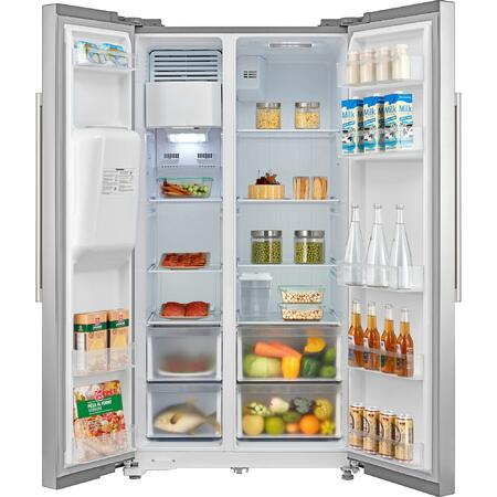 Side by side Heinner HSBS-M490XICE++, 490 l, Clasa A++, No Frost, Dispenser apa & gheata, Display, Iluminare LED, Compresor Inverter, H 178.8 cm, Argintiu