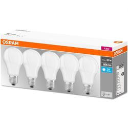 OSRAM Set de 5x bec Led, LED BASE CLASSIC A, E27, 8.5W (60W), lumina neutra (4000K)