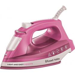 Fier de calcat Russell Hobbs Light and Easy 25760-56, 2400 W, 240 ml, talpa ceramica, abur vertical, roz