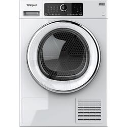 Uscator de rufe Whirlpool Supreme Care STU92XEU, Pompa de caldura, 9 kg, Clasa A++, Motor Inverter, 6th Sense, Display digital, Alb