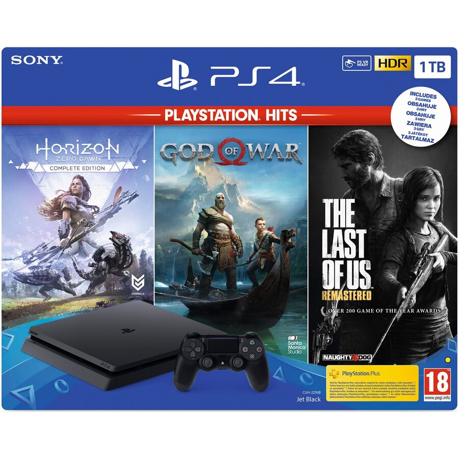 Consola SONY Playstation 4 Slim 1TB Jet Black + God of War HITS + Horizon Zero Dawn Complete Edition HITS + The Last of Us Remastered HITS