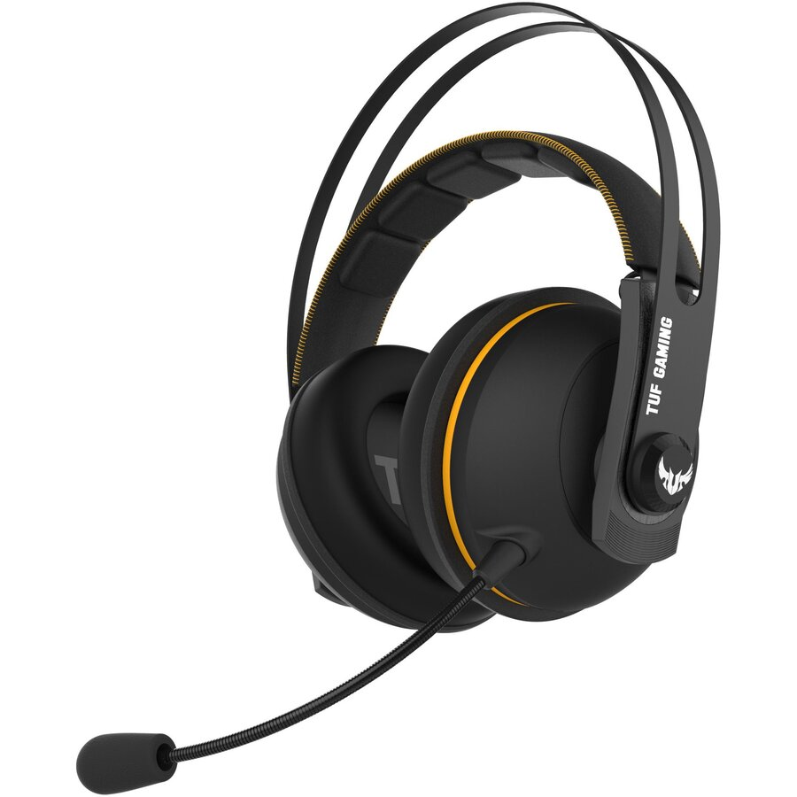 Casti Gaming Wireless Asus Tuf H7, 7.1 Surround, Multiplatforma, Negru/galben
