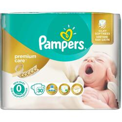 Scutece Pampers Premium Care 0 New Born Carry Pack, 30 bucati