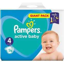 Scutece Pampers Active Baby 4 Giant Pack, 76 bucati