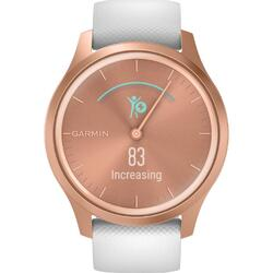 Ceas Smartwatch Garmin Vivomove Style, Rose Gold/White, Silicone Band