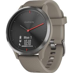 Ceas smartwatch Garmin Vivomove HR Sport, Sandstone Silicon Band, Black