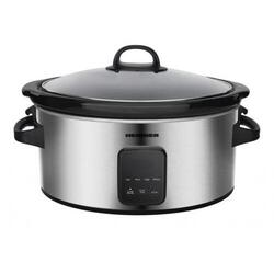 Slow cooker Heinner HSCK-C57IXBK, 220 W, 5.7 L, vas ceramic, display LED, timer si 3 setari temperatura, Inox
