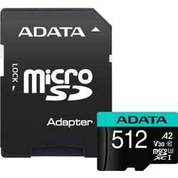A-Data ADATA 512GB Premier Pro MICROSDXC, R/W up to 100/80 MB/s, with Adapter