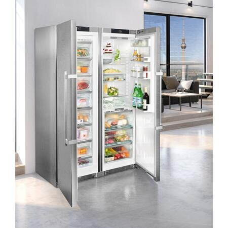 Side by side Liebherr SBSes 8773, 635 L, No Frost, BioFresh, Display electronic, SuperCool, Functie vacanta, Alarma usa, H 185 cm, A+++, Inox