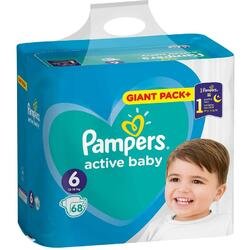 Scutece Pampers Active Baby Giant Pack+, Marimea 6, 13 -18 kg, 68 buc