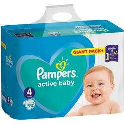 Scutece Pampers Active Baby 4 Giant Pack, 90 buc