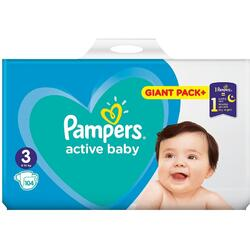 Scutece Pampers Active Baby Giant Pack+, Marimea 3,6 -10 kg, 104 buc