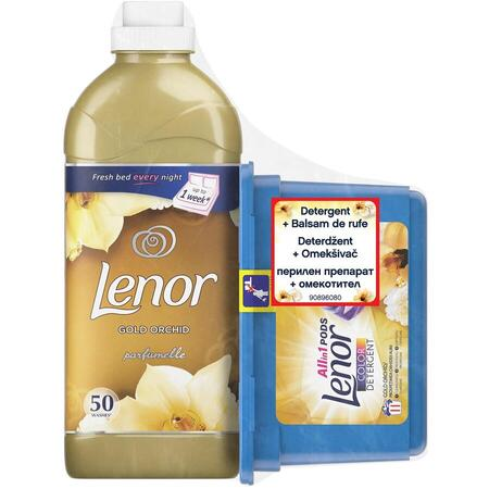 Pachet Promo: Detergent capsule Lenor All in One PODs Gold Orchid 11 spalari + Balsam Lenor Gold Orchid 50 Spalari