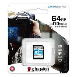 Card de memorie SD Kingston Canvas GO Plus, 64GB, Clasa 10, UHS-I, Adaptor inclus