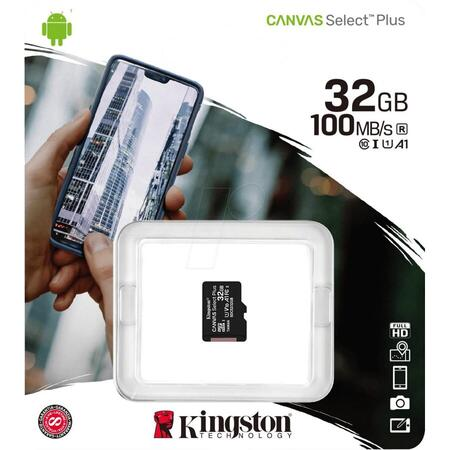 Card memorie Kingston Micro SDHC Canvas Select Plus 100R, 32GB, Clasa 10, UHS-I