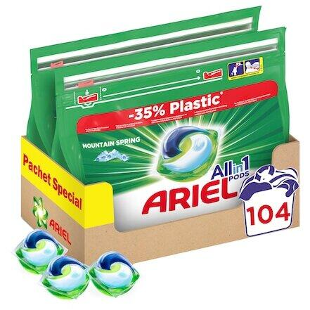 Detergent capsule Ariel All in One PODS Mountain Spring, 2x52 buc, 104 spalari