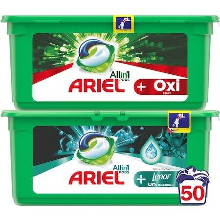 Pachet promo: Detergent capsule Ariel All in One PODS+ Oxi Efect 25 spalari + Detergent capsule Ariel All in One PODS+ Unstoppables 25 spalari