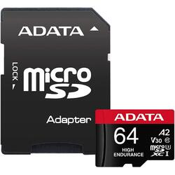 A-Data Card de memorie ADATA Endurance, MicroSDXC, 64GB, UHS-I V30, 100MB/s, Class 10 + Adaptor