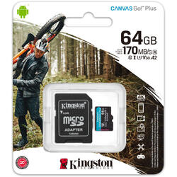 Card memorie Kingston Micro SDXC Canvas GO Plus, 64GB, Clasa 10, UHS-I + Adaptor