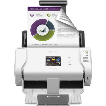 Scanner Brother ADS-2700W, Format A4, dual CIS, ADF, Duplex, Retea, Wi-Fi