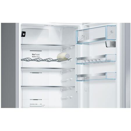 Combină frigorifică Bosch KGN39HIEP, NoFrost, 366 L, Compartiment VitaFresh 0°C, Display, Suport sticle, Home Connect, Clasa A++, H 193 cm, Inox