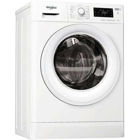 Masina de spalat rufe Whirlpool FWSG61282WVEEN, 6 kg, 1200 rpm, 6th Sense, FreshCare+, Display, SoftMove, Aburi, Motor Inverter, Slim, Clasa A+++